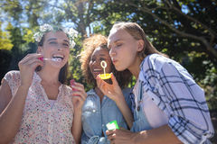 Amis féminins soufflant des bulles en parc Photos libres de droits