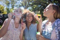 Amis féminins soufflant des bulles en parc Photographie stock