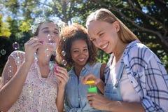 Amis féminins soufflant la bulle en parc Photos stock