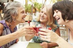 Amis féminins supérieurs appréciant des cocktails dans la barre ensemble Image stock