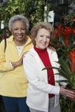 Amis féminins supérieurs au jardin botanique Images libres de droits