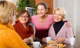 Amis féminins supérieurs buvant du café Images stock
