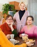 Amis féminins supérieurs buvant du café Photographie stock libre de droits