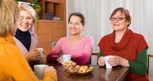 Amis féminins supérieurs buvant du café Image libre de droits