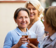 Amis féminins sur la terrasse d'été Photographie stock