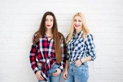 Amis féminins sur le fond blanc de mur Images libres de droits