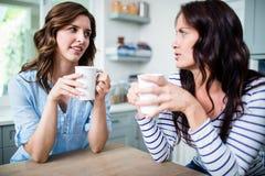 Amis féminins tenant des tasses de café tout en discutant à la table Photos stock