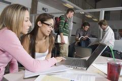 Amis féminins travaillant sur l'ordinateur portable Image stock