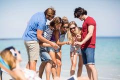 Amis faisant des gestes tout en regardant dans le téléphone portable la plage Image stock