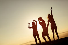 Amis faisant la fête pendant le coucher du soleil d'été Image libre de droits