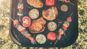 Amis faisant le barbecue et prenant le déjeuner dans la nature Couplez avoir l'amusement tout en mangeant et en buvant à un pique Image stock