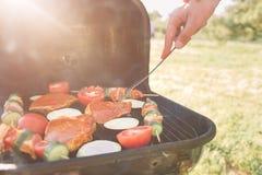 Amis faisant le barbecue et prenant le déjeuner dans la nature Couplez avoir l'amusement tout en mangeant et en buvant à un pique Photos libres de droits