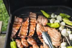 Amis faisant le barbecue et prenant le déjeuner Images stock