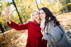 Amis faisant le selfie Deux belles jeunes femmes faisant le selfie en parc d'automne Photo stock