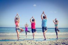 Amis faisant le yoga ainsi que leur professeur Photos stock