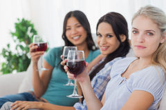 Amis gais ayant le vin rouge regardant ensemble l'appareil-photo Photo stock