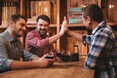 Amis gais beaux donnant la haute cinq Photo libre de droits