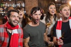 Amis gais criant dans le bar Image libre de droits