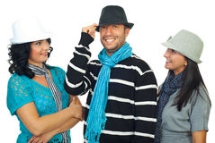 Amis gais dans des chapeaux Photographie stock libre de droits
