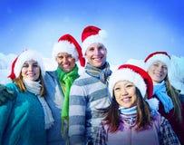 Amis gais de vacances de Noël collant le concept Images libres de droits