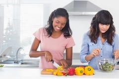 Amis gais préparant une salade ensemble Image stock
