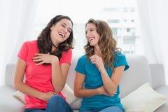Amis gais s'asseyant sur le sofa dans le salon Photographie stock