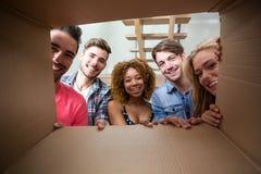 Amis gais vus par la boîte en carton Photo libre de droits