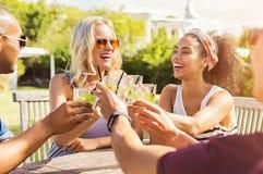 Amis grillant avec des cocktails Photo stock