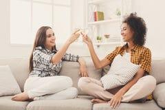 Amis grillant avec des verres à vin à la maison Photos libres de droits