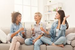 Amis grillant avec des verres à vin à la maison Photos stock