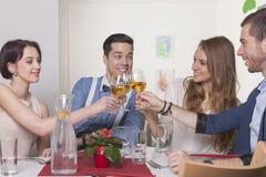 Amis grillant avec des verres de vin Photographie stock libre de droits