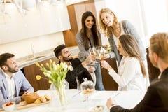 Amis grillant avec du vin blanc Image libre de droits