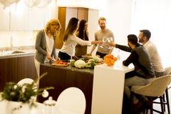 Amis grillant avec l'événement joyeux de vin blanc Photo stock
