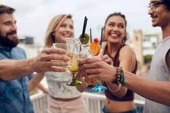 Amis grillant des cocktails à une partie Photographie stock