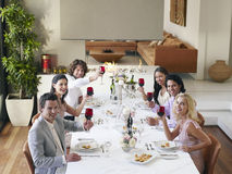 Amis grillant des verres à vin au dîner Photographie stock libre de droits