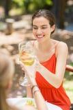 Amis grillant des verres de vin dans un restaurant Images stock