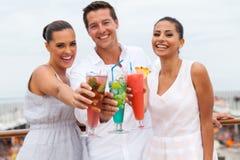Amis grillant le cocktail Photographie stock libre de droits
