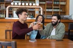 Amis grillant le verre de bière dans la barre Images stock