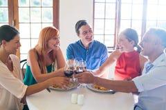 Amis grillant le verre de vin tout en ayant le repas Photographie stock