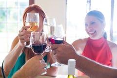 Amis grillant le verre de vin tout en ayant le repas Photo stock