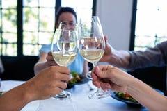 Amis grillant le verre de vin tout en prenant le déjeuner Photographie stock