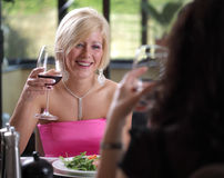 Amis heureux à la table dinning Image libre de droits