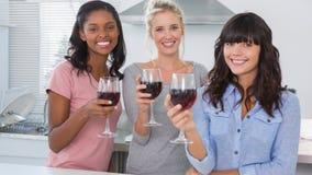 Amis heureux appréciant des verres de vin rouge Photo stock