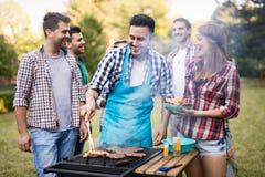 Amis heureux appréciant la partie de barbecue Photo libre de droits