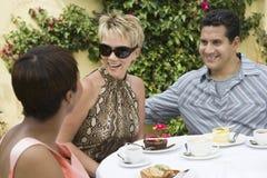 Amis heureux au Tableau de Dinning Image stock