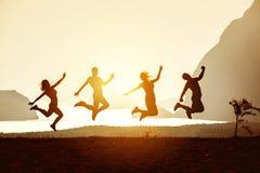 Amis heureux ayant des îles de mer d'amusement Image stock
