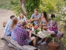 Amis heureux ayant l'amusement à l'extérieur Concept de la jeunesse et d'amitié Image stock