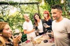 Amis heureux ayant l'amusement buvant du vin rouge au jardin d'arrière-cour Photographie stock