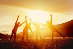 Amis heureux ayant l'amusement contre des montagnes de coucher du soleil Photo libre de droits