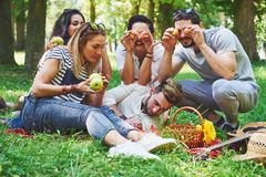 Amis heureux ayant l'amusement dehors en nature Photo libre de droits